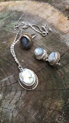 Vintage Cameo Set 1 Necklaces And Earrings/ringall Sterling Silver Frames And Chains