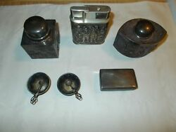 Antique Sterling Silver Snuff Boxessalt And Pepper Bowland039sbox And Lighter