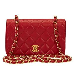 CHANEL RED QUILTED LAMBSKIN VINTAGE MINI FLAP BAG  HB1166