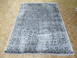 8'10 X 11'11 Hand Knotted Gray Tone On Tone Wool And Silk Oriental Rug G5360