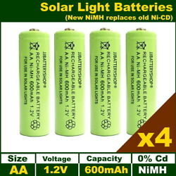 4 X Aa Solar Light Batteries Rechargeable 1.2v 600mah Nimh Replaces Old Nicd