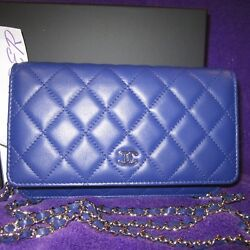 AUTH. NEW CHANEL COBALT BRIGHT BLUE WALLET ON A SILVER CHAIN BAG CROSS BODY