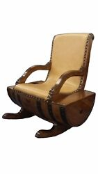 Rocking Chair Made With Tequila Barrel In Leather Or Vinyl.