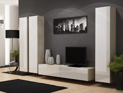 Bmf Vigo 1 Tv Wall Unit With Vertical Slim Cabinets Media Set High Gloss Fronts