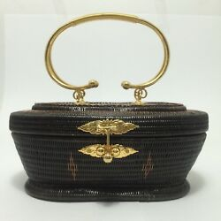 Evening Clutch Bag Traditional Thai Vintage Unique Woven Charm Handmade Basketry