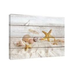 Wall Art Canvas Beach Starfish Shells Nautical Rustic Ocean Decor Home Gift NEW $56.13