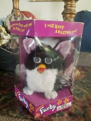 1st Edition Furby Black Body With Pink Ears An Opened.