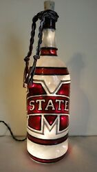 Mississippi State Inspiered Hand Painted Lighted Wine Bottle Stained Glass Look