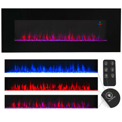 Contemporary Electric Fireplace Black 50 Wall / Recess Mount Heater Multi Flame