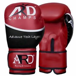 4fit® Art Leather Boxing Gloves Fight Punching Bag Mma Muay Thai Kickboxing- Red