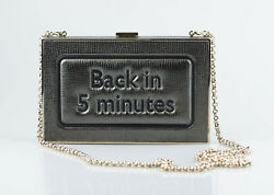 NWT ANYA HINDMARCH Back in 5 Minutes Silver Metallic Leather Clutch Bag $1450