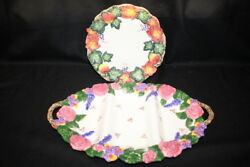 2pc Lot Fitz And Floyd Serving Dishes 3 Section Rose Platter And Autumn Plate 19