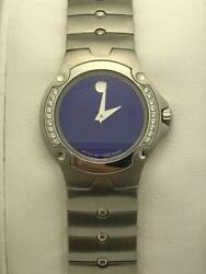 Movado Ladies Sports Edition Royal Blue Dial Stainless Steel Watch 0604837