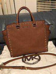 Michael Kors Large Selma Studded Crossbody Brown Purse MK Bag Designer original