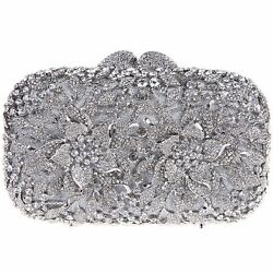 Fawziya Floral Evening Bags And Clutches For Prom Clutch Bags For Girls-Silver