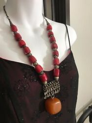 Antique, Yemen Bedouin Silver Filigree Necklace W/coral And African Amber Bead