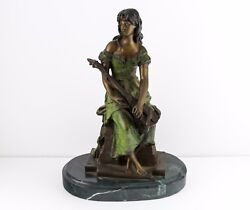 Solid Bronze Girl With Guitar Signed Hip Moreau