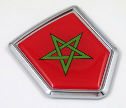Morocco, Moroccan Flag Chrome Emblem With Domed Car Decal Sticker Bike Crest