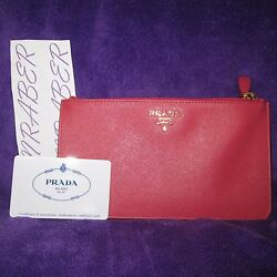 NEW AUTH PRADA PINK PEONIA LEATHER GOLD HW COSMETIC CASE BAG TRAVEL CLUTCH