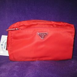NEW AUTH. PRADA RED DOUBLE ZIPPER COSMETIC TRAVEL CASE BAG CLUTCH 1N1394