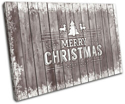 Christmas Decoration Wall Canvas Art Print Xmas Picture Gift Wood 15 Brown Chris