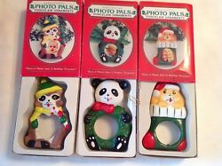 Vintage Giftco 3 Handcrafted Photo Pals Porcelain Christmas Ornaments