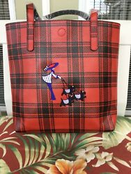 Scottish Terrier Scottie Scottie Dog Embroidered Ladies Totebag. RED PLAID.