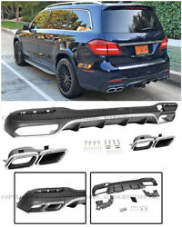 AMG Style Rear Bumper Diffuser Quad Chrome Muffler Tips For 17-Up MB X166 GLS550
