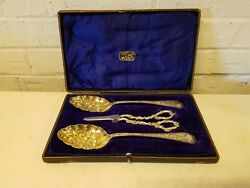 J. Elliot And Sons Sheffield Silver Plate Gilt Wash Spoons And Grape Shears In Box