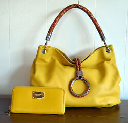 Lightly Use Michael Kors Purse & Wallet Yellow Leather