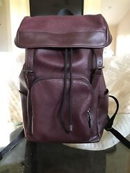 Pre owned Coach Men's Henry Pebble Leather Backpack in Oxblood