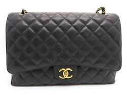 Auth Chanel Quilted Caviar Leather SHW Chain Shoulder Bag Black