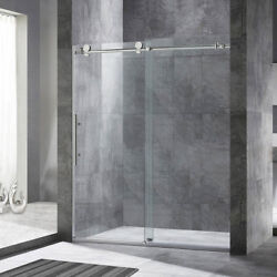 WoodBridge Frameless Sliding Shower Door 56quot; 60quot; Width 76quot; Height B.Nickel