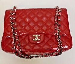 Chanel Classic Jumbo Red Patent Double Flap Bag with authenticity card