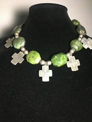 Superb Serpentine Faceted Stones And Sterling Silver Cross Necklace
