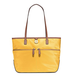 $118 New Michael Kors MK Women Designer Medium Pocket Tote Bag Yellow Nylon