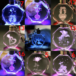 Unique Crystal Rose LED Light Keychain Love Heart Key Chain Ring Keyring Gift $3.77