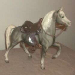 custom Breyer  trad sized  western Saddle with gray horse tackmodel stone