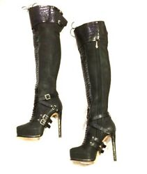 Dior Guetre Over The Knee Black Boots