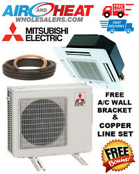 MITSUBISHI P SERIES HEAT PUMP CASSETTE MINI SPLIT 30K BTU 22 SEER *KIT INCLUDED*