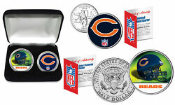 Chicago Bears Officially Licensed Nfl 2-coin U.s. Set W/ Deluxe Display Box