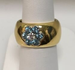 18k Yellow Gold Blue Topaz And Diamond .16ct. Ring