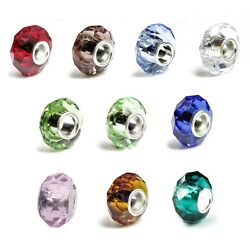 Sterling Silver Birthstone Round Crystal Bead For European Charm Bracelets