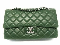 Chanel Quilting Lambskin Classic Double Flap Silver Metal Flap Bag Green