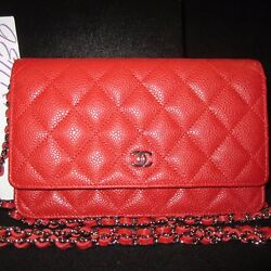 NIB 14C CHANEL BRIGHT RED WALLET ON A SILVER CHAIN BAG CROSS BODY MOST SOUGHT