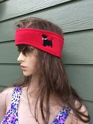 Scottish Terrierscotty Dog Embroidered Red Fleece Ear Warmer  Head Band