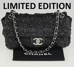 Limited Edition CHANEL Astrakan Black Quilted Gathered Leather Flap Chain Bag