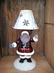 Santa Claus Tea Lite Candle Holder Red & Frosted Plastic Glittery & Blue Mittens