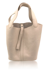 Hermes Picotin MM Craie Taurillon Clemence Leather Bucket Bag
