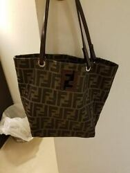 Fendi Logo FF Tabasco brown canvas and leather Tote